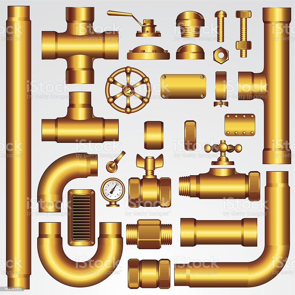 Golden Pipeline Elements. Vector Clip Art royalty-free golden pipeline elements vector clip art stock vector art & more images of air valve