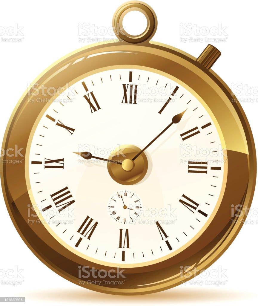 Golden Pocket Watch vector art illustration
