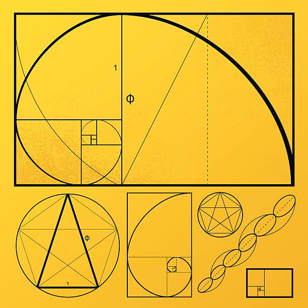 золотой прямоугольник - золотое сечение stock illustrations