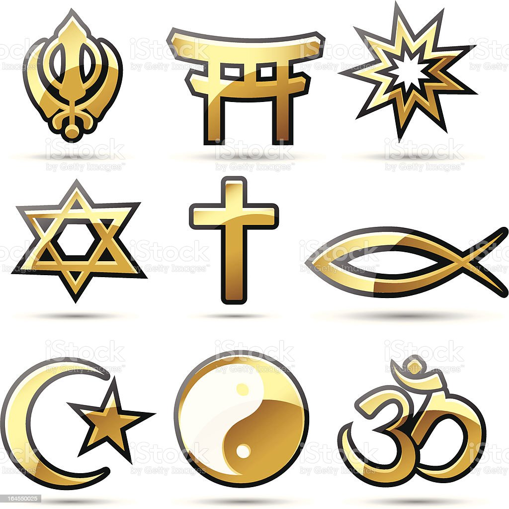Golden Religious Symbols Stock Vector Art More Images Of Buddhism