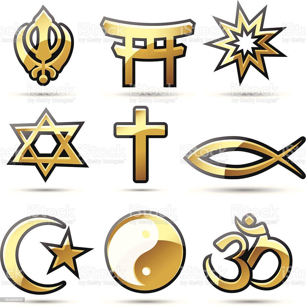 Golden Religious Symbols vector art illustration