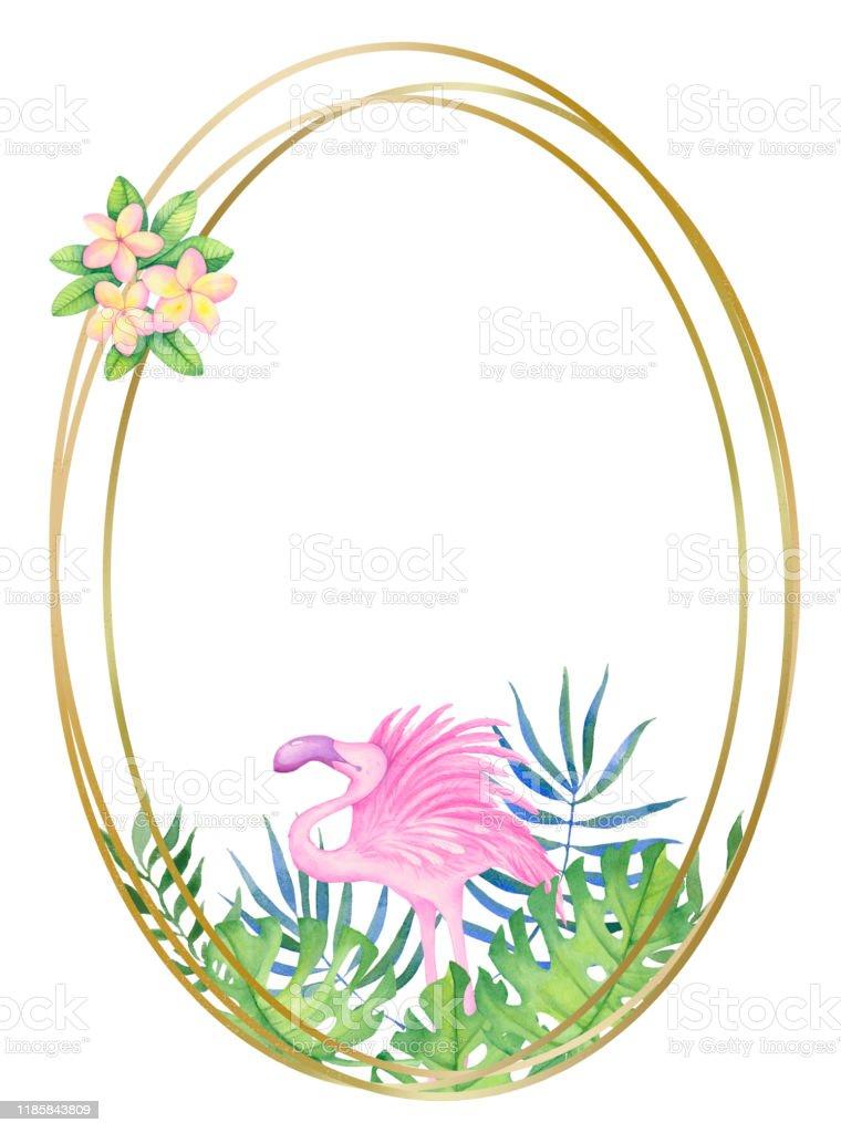 Ilustración De Marco Redondo Dorado Con Flores Tropicales Y