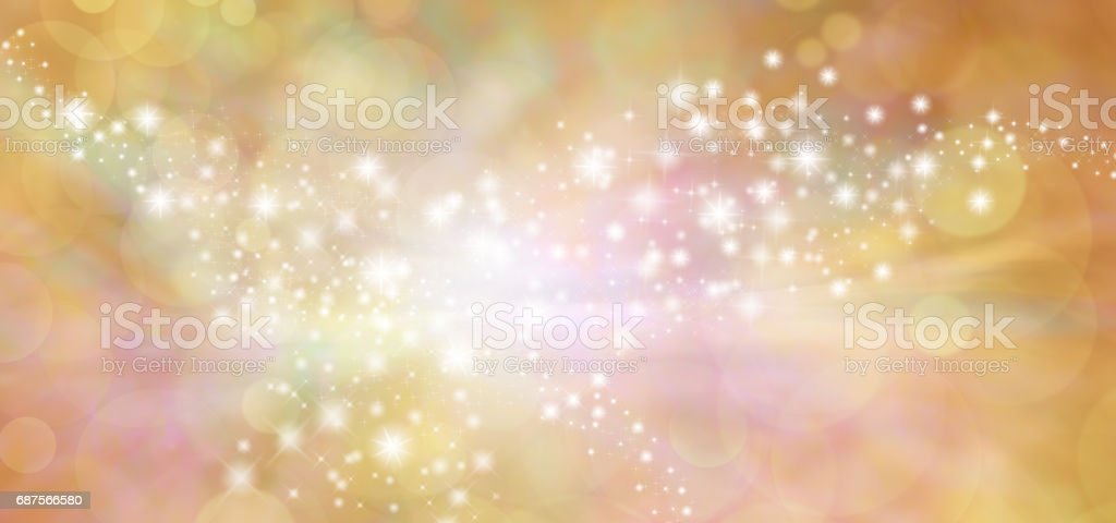 Golden starry glitter warm toned bokeh background banner vector art illustration