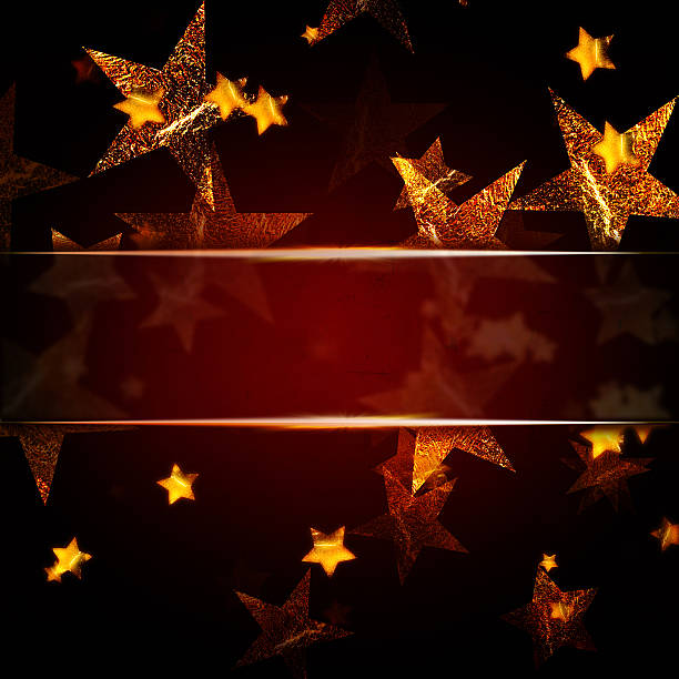 golden stars over dark red christmas background with text space - ilustração de arte em vetor