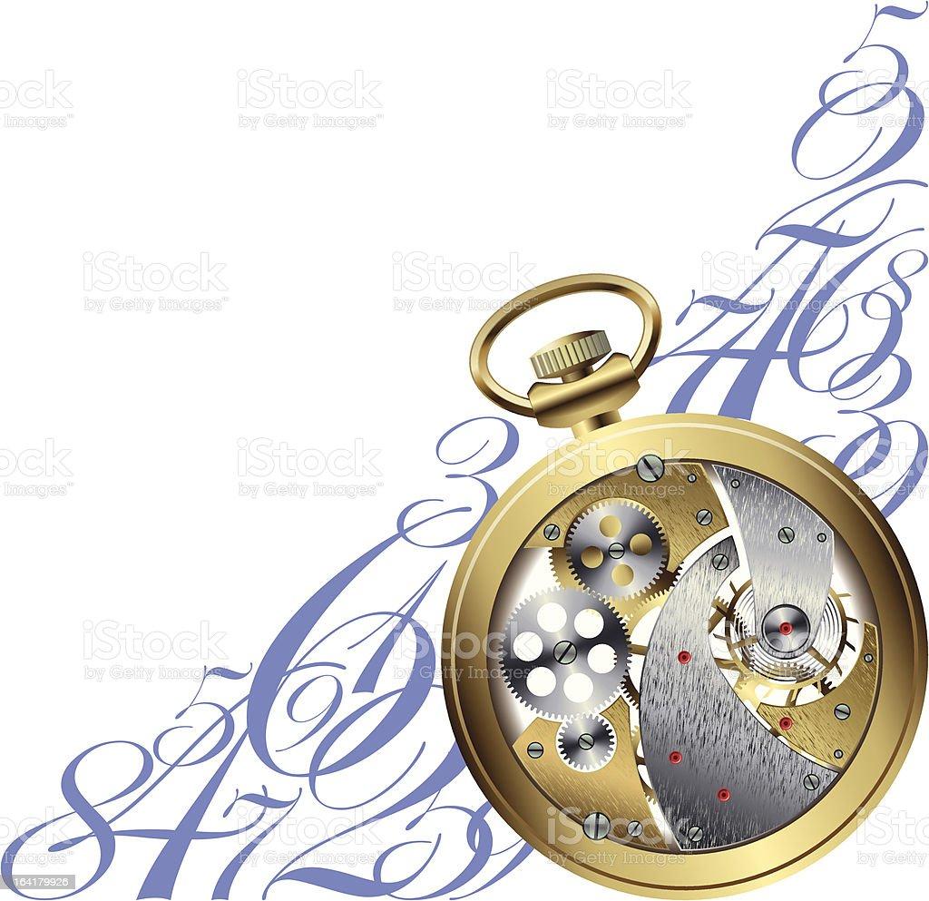 Golden watch inside royalty-free stock vector art