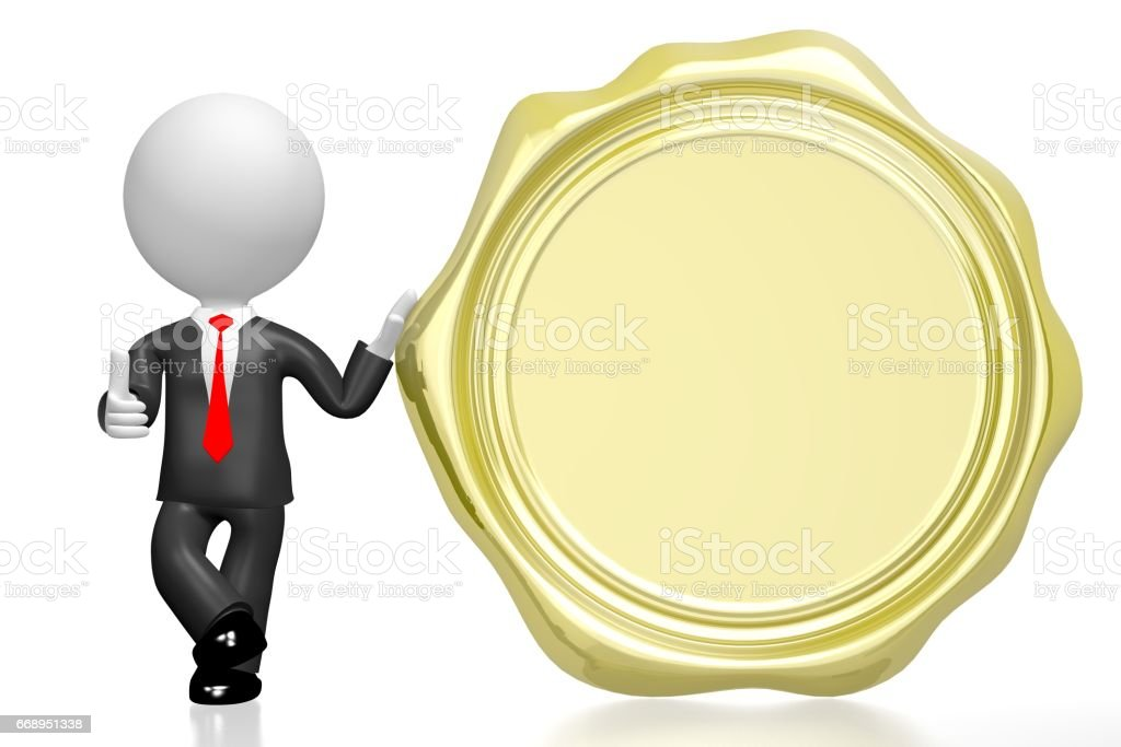 Golden wax seal, businessman vector art illustration
