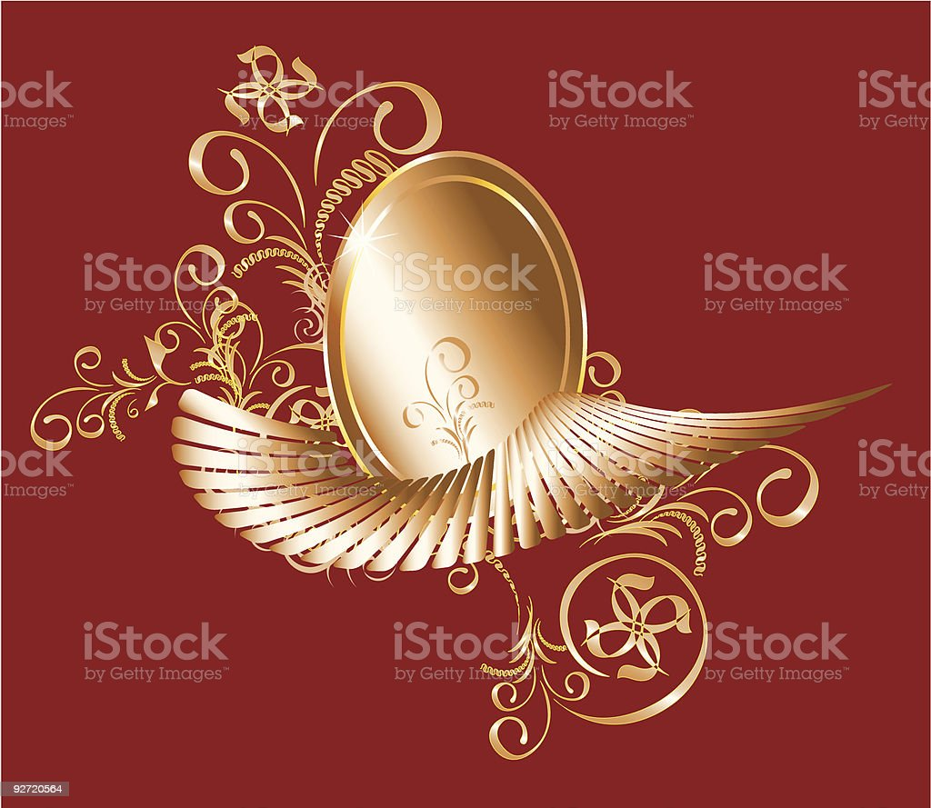 Golden Wing Oval royalty-free golden wing oval stock vector art & more images of abstract
