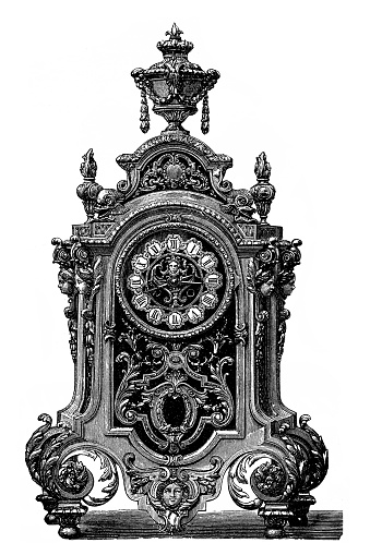 Gold-plated brass clock in the style of Louis XIV by Susse Freres in Paris, Vienna Exhibition 1873