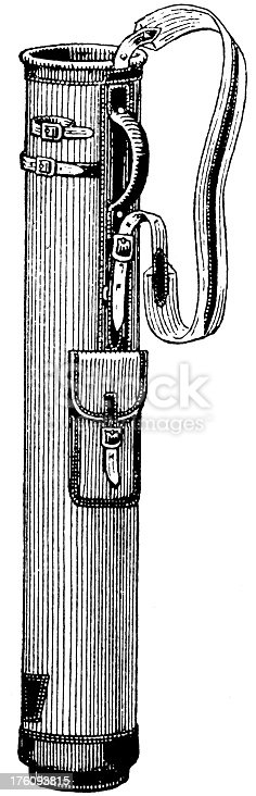 Antique 19th-century illustration of a golf bag (isolated on white).CLICK ON THE LINKS BELOW TO SEE SIMILAR IMAGES: