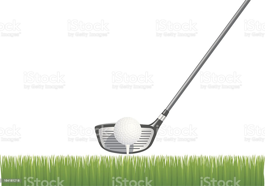Golf ball and driver on grass vector art illustration