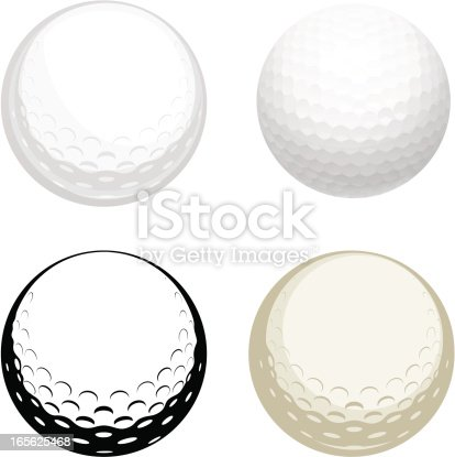 Vector illustration of golf ball - four modifications.