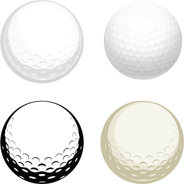 Golf ball Vector illustration of golf ball - four modifications. golf ball stock illustrations