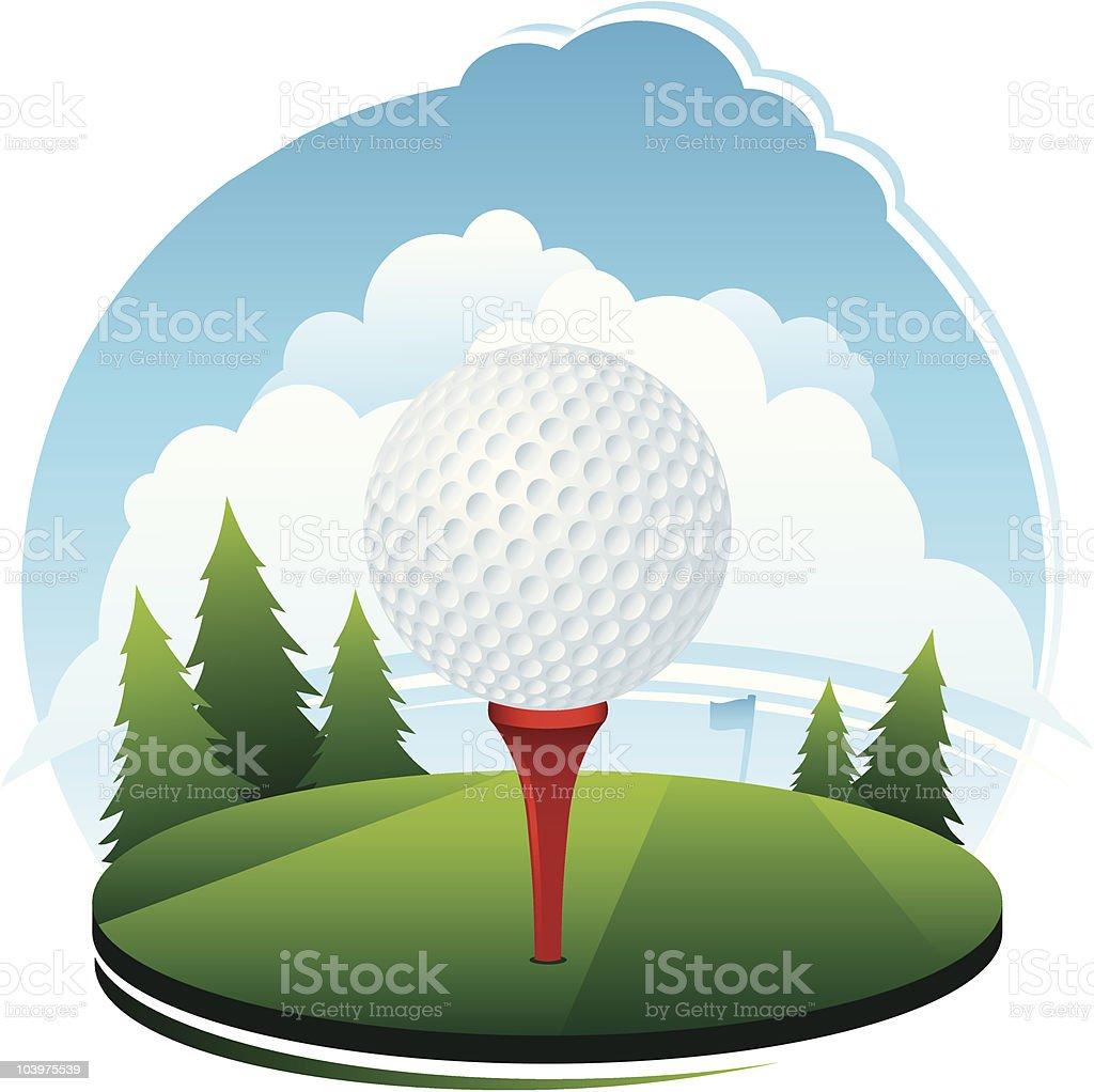 Golf Ball on Tee Scene royalty-free stock vector art
