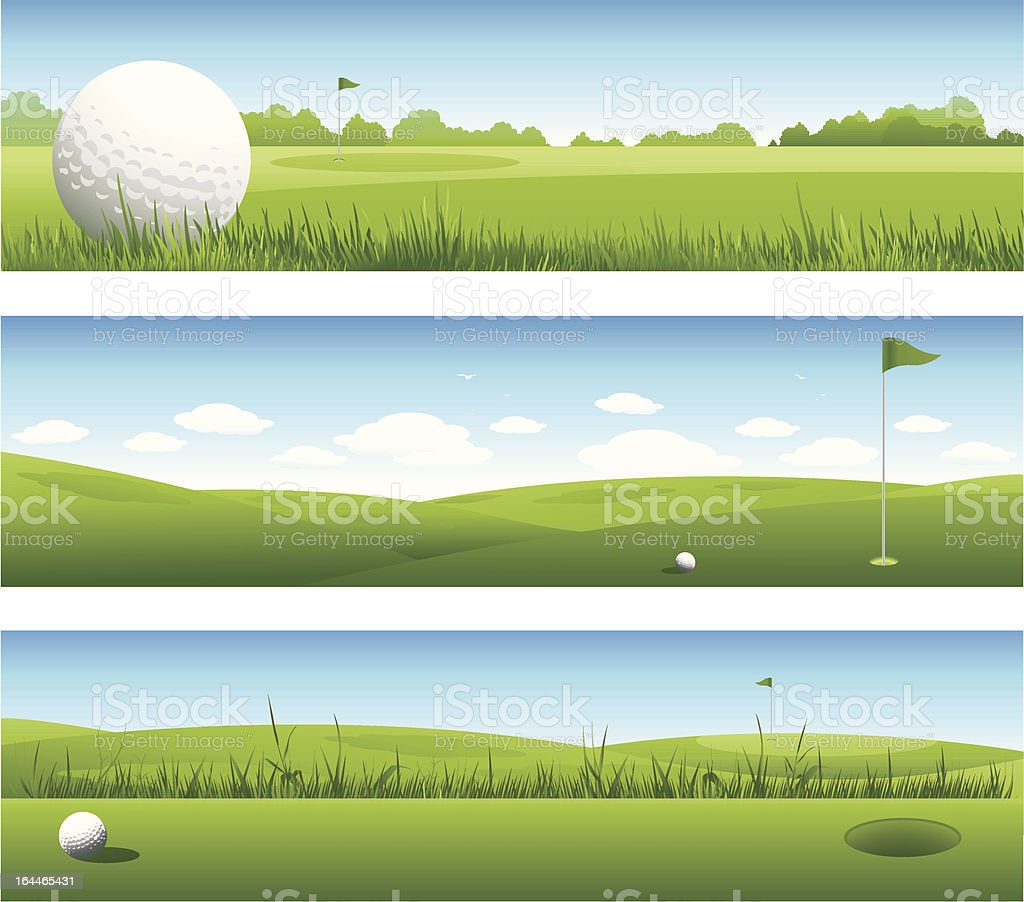 Golf banners vector art illustration