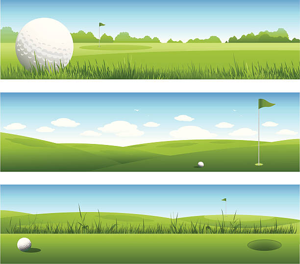 Golf banners Golf background green golf course stock illustrations