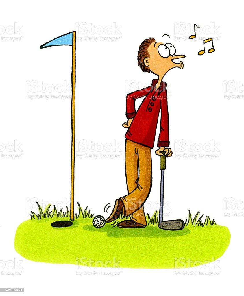 Golf Cartoon Number 5 Golfer Cheating Stock Illustration