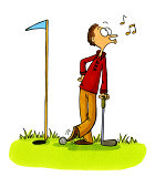 Golf Cartoon Number 5 - Golfer Cheating