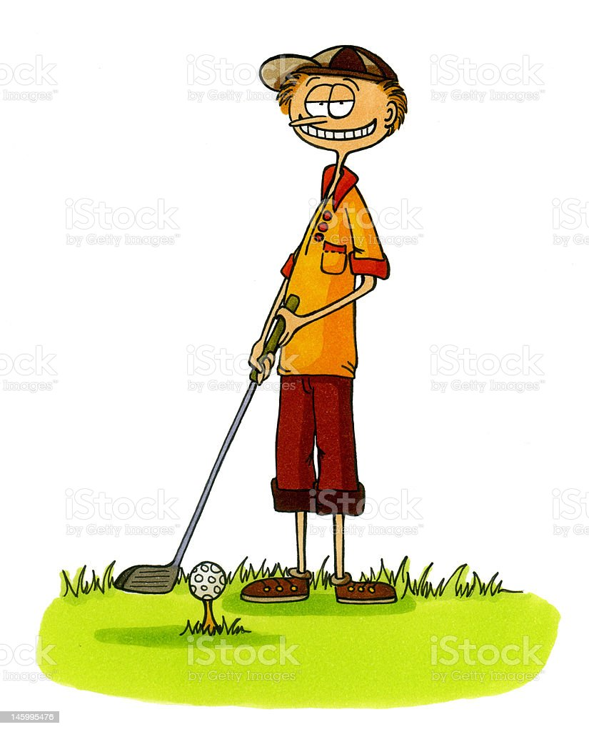 golf cartoons number 6 golfer winner type royalty free stock vector art