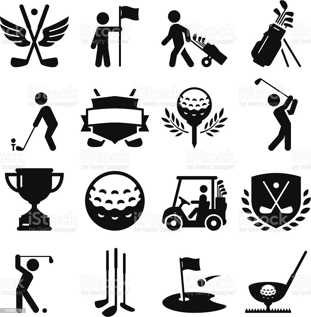 Golf Icons - Black Series vector art illustration