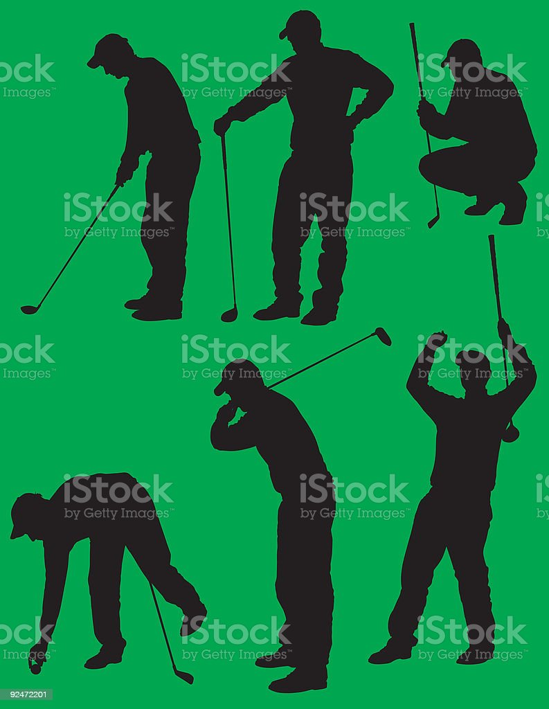 Golf Silhouettes 1 royalty-free stock vector art