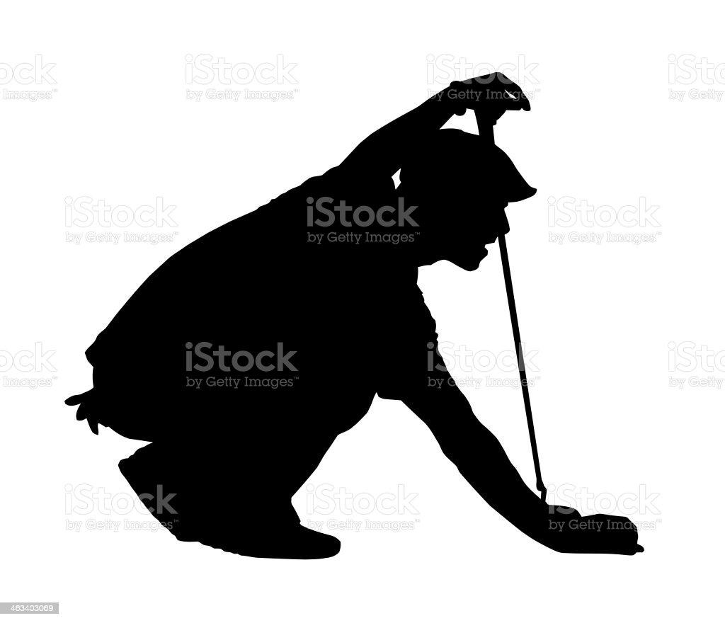 Golf Sport Silhouette - Golfer kneeling vector art illustration