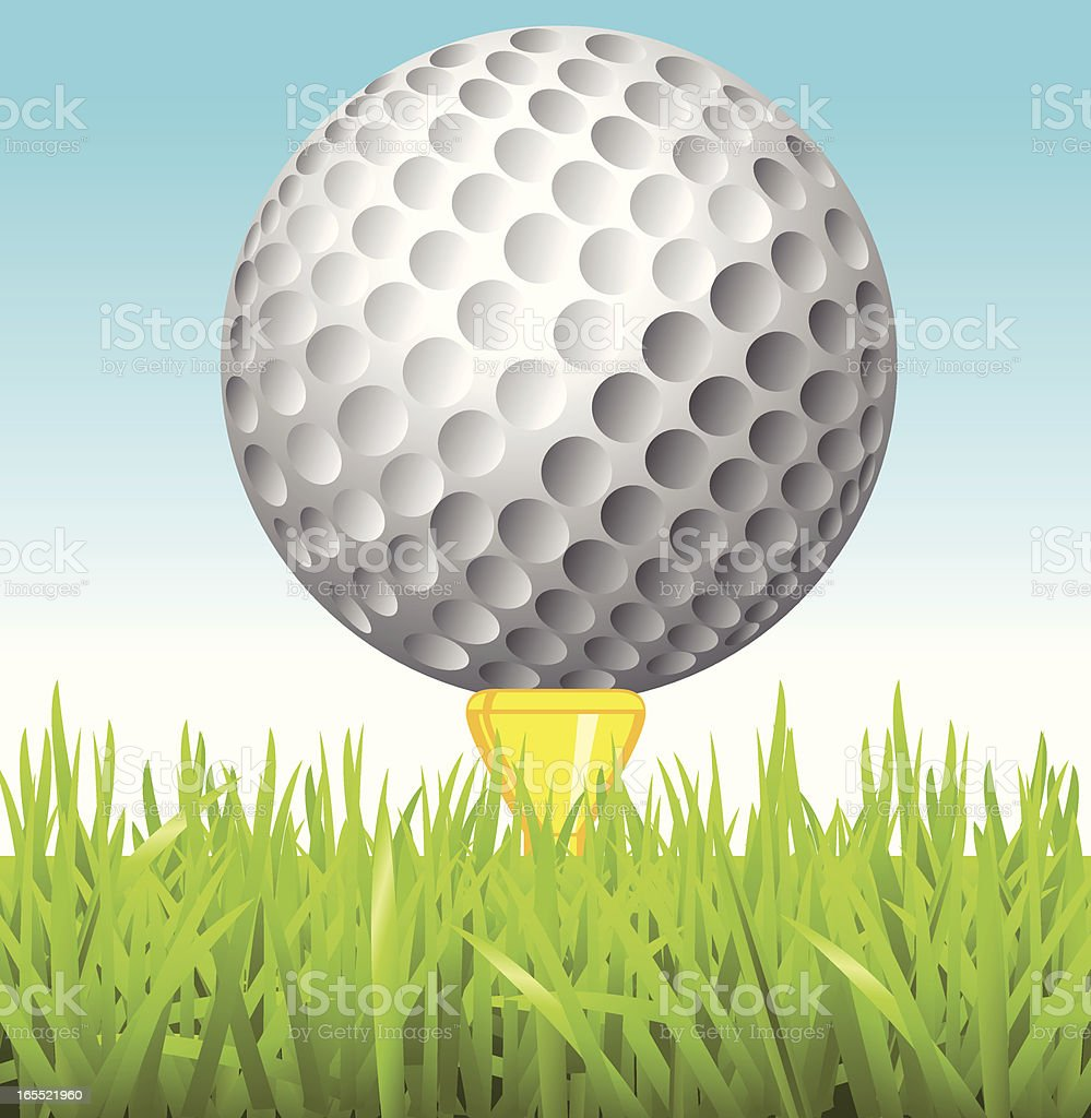 Golfball on tee close up vector art illustration