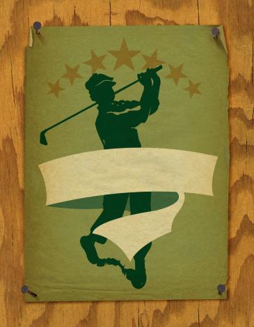 Golfer and Banner Background - Retro