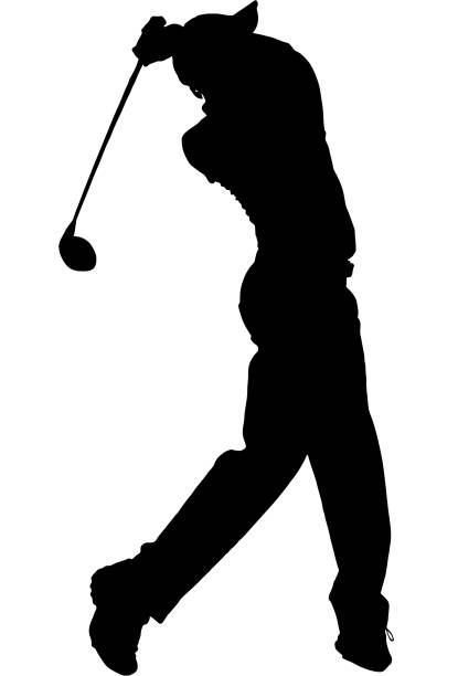 stockillustraties, clipart, cartoons en iconen met golfer silhouette - wegkijken