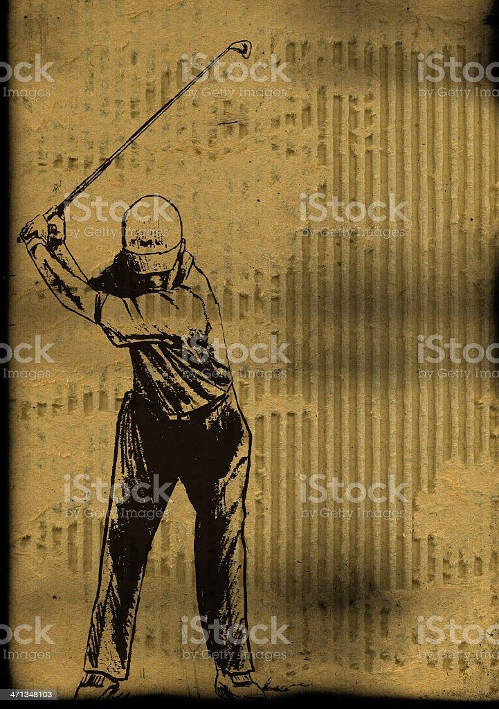 Golfer Swing Golf Club Background vector art illustration
