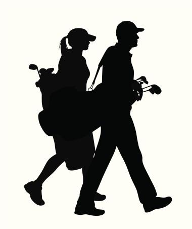Golfing Couple Vector Silhouette