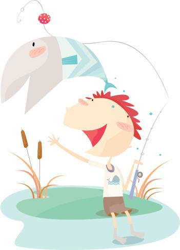 Gone Fishing Stockvectorkunst en meer beelden van Alleen kinderen