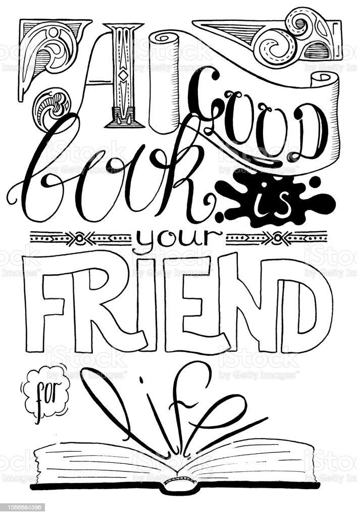 Ilustración De Buen Libro Es Tu Amigo Para Toda La Vida Manuscrita