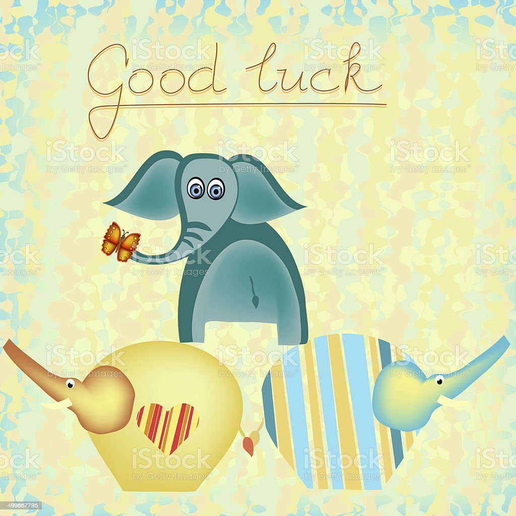 Good Luck Background With Elephants Stock Vector Art More Images
