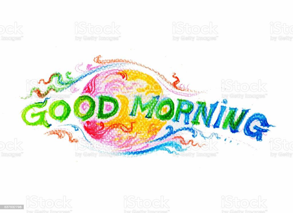 Dzień Dobry Ręczny Napis Tekst Kolorowy Ołówek Ilustracja