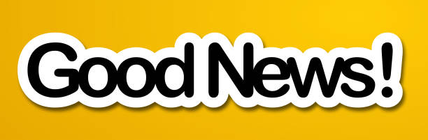Good News good news label in yellow background good news stock illustrations
