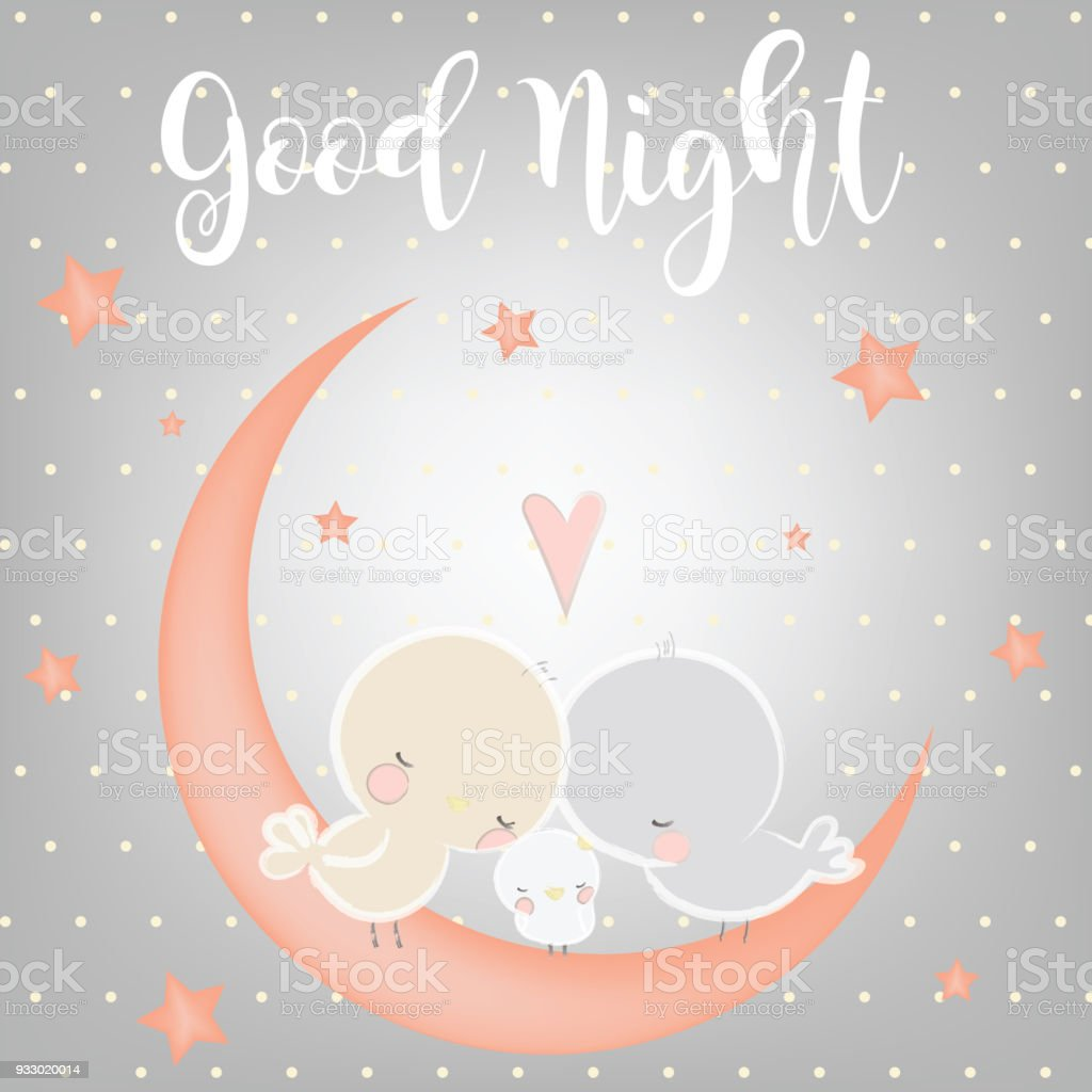 Good Night And Sweet Dreams Illustration Design Stock Vector Art