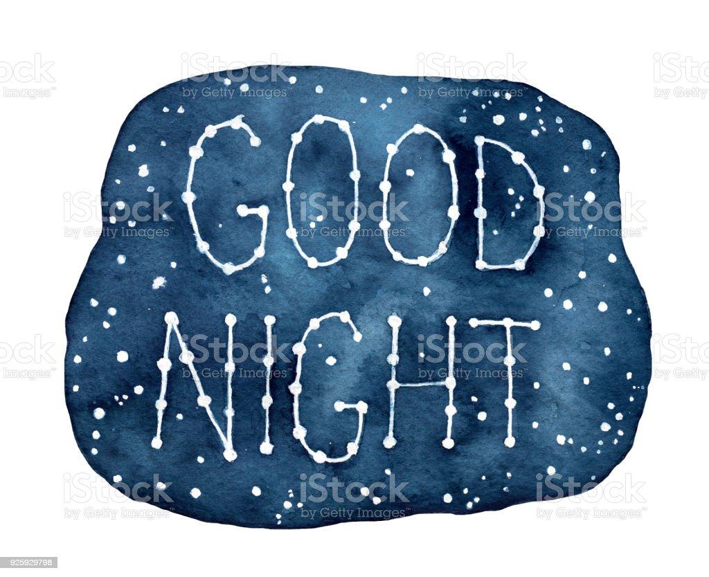 Ilustración De Buenas Noches Inspiradora Frase Escrita En La