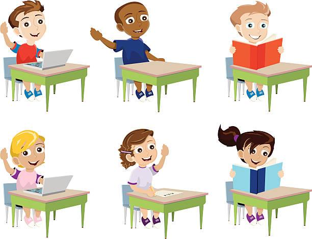 な学校の子供 - 数学の授業点のイラスト素材/クリップアート素材/マンガ素材/アイコン素材