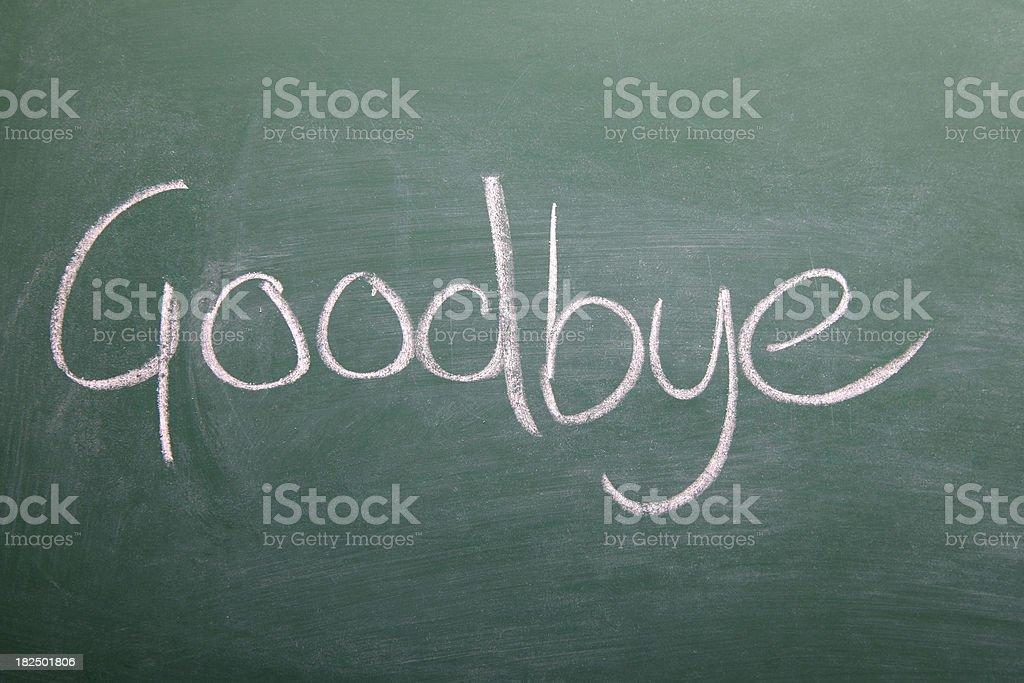 Goodbye written on a chalkboard royalty-free stock vector art
