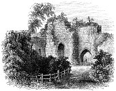 The ruins of Goodrich Castle at the village of Goodrich in Herefordshire, England, Uk. Vintage etching circa 19th century.