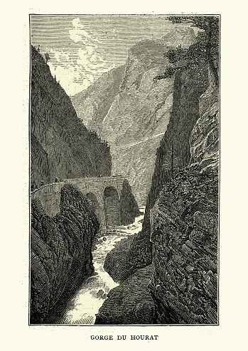 Vintage engraving of Gorges du Hourat, Pyrenees, France, 19th Century