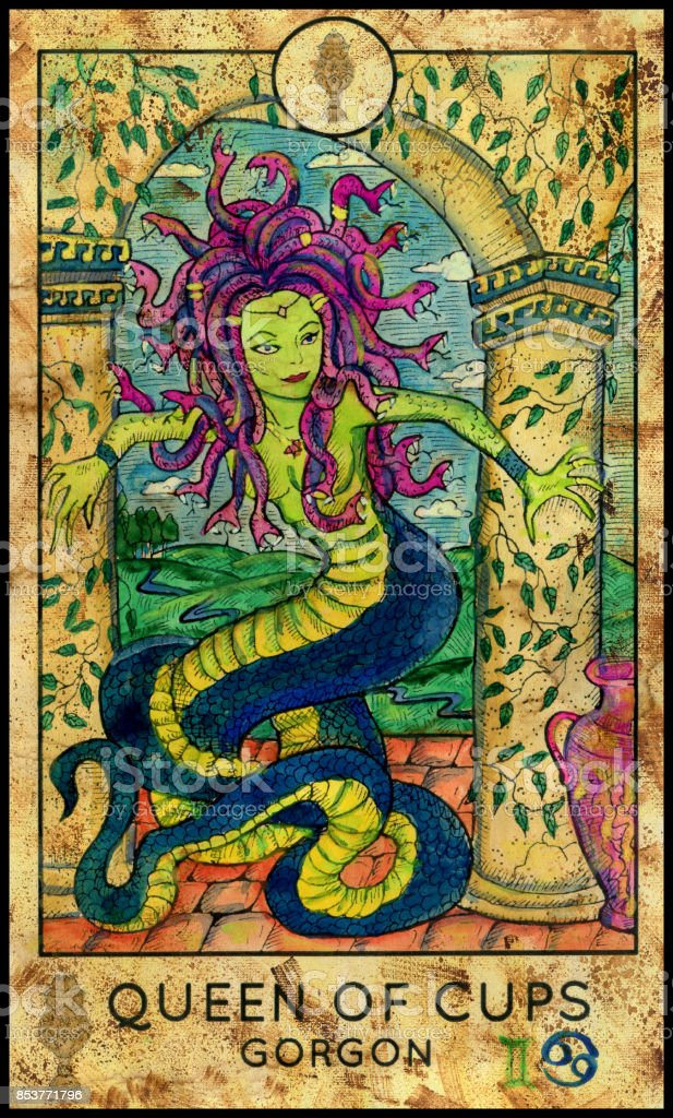 Gorgon. Queen of cups vector art illustration