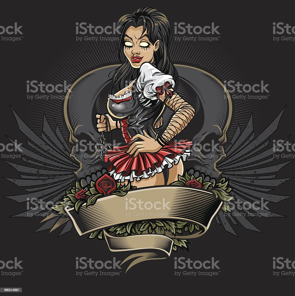 Goth Girl Tattoo Design royalty-free goth girl tattoo design stock vector art & more images of adult