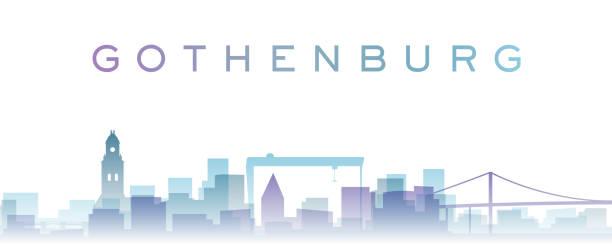 bildbanksillustrationer, clip art samt tecknat material och ikoner med göteborg transparenta lager gradient landmärken skyline - gothenburg