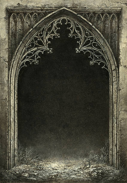 gothic arch - architecture borders stock illustrations