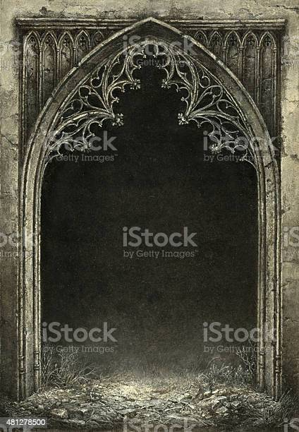 Fantasy gothic arch with the black grunge background inside. Handmade painting, acrylic on paper, slightly processed.