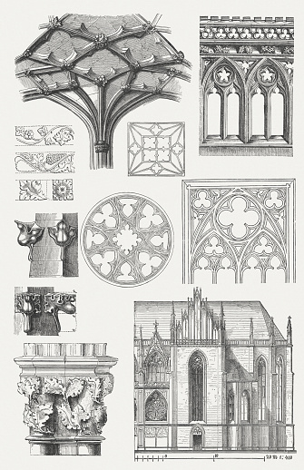 Gothic structural elements. Woodcut engraving from my archive, published in 1876.