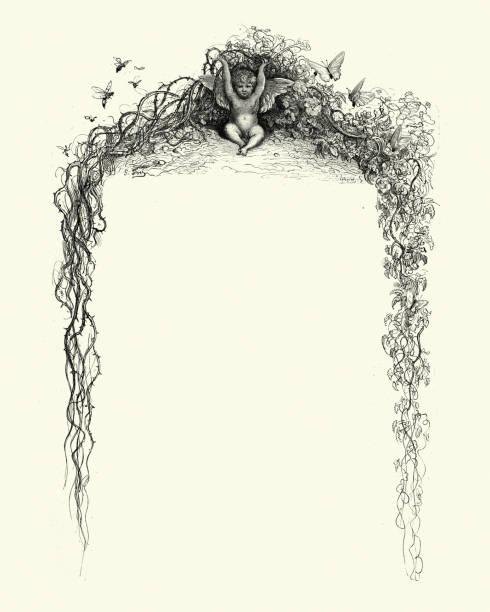 Gothic fantasy border, overgrown ivy, cherub, butterfly, wasp vector art illustration