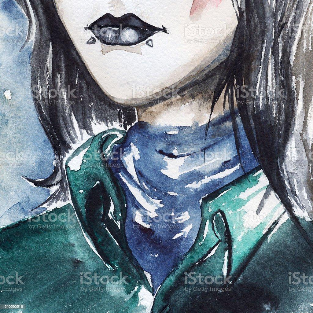 Gothic freak girl with black lips and piercing portrait vector art illustration