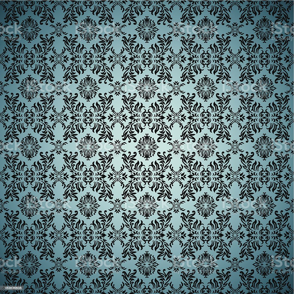 Gothic Seamless Blue Wallpaper Stock Vector Art More Images Of